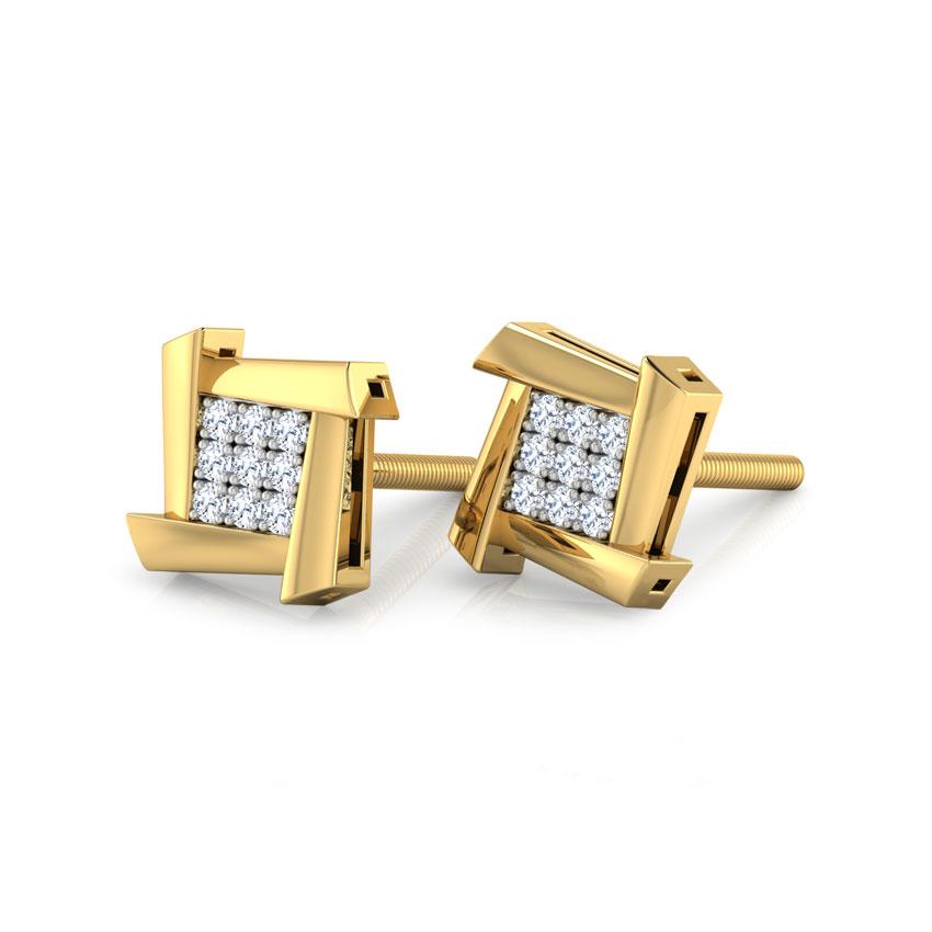 Diamond Earrings 14 Karat Yellow Gold Ludo Square  Diamond Stud Earrings