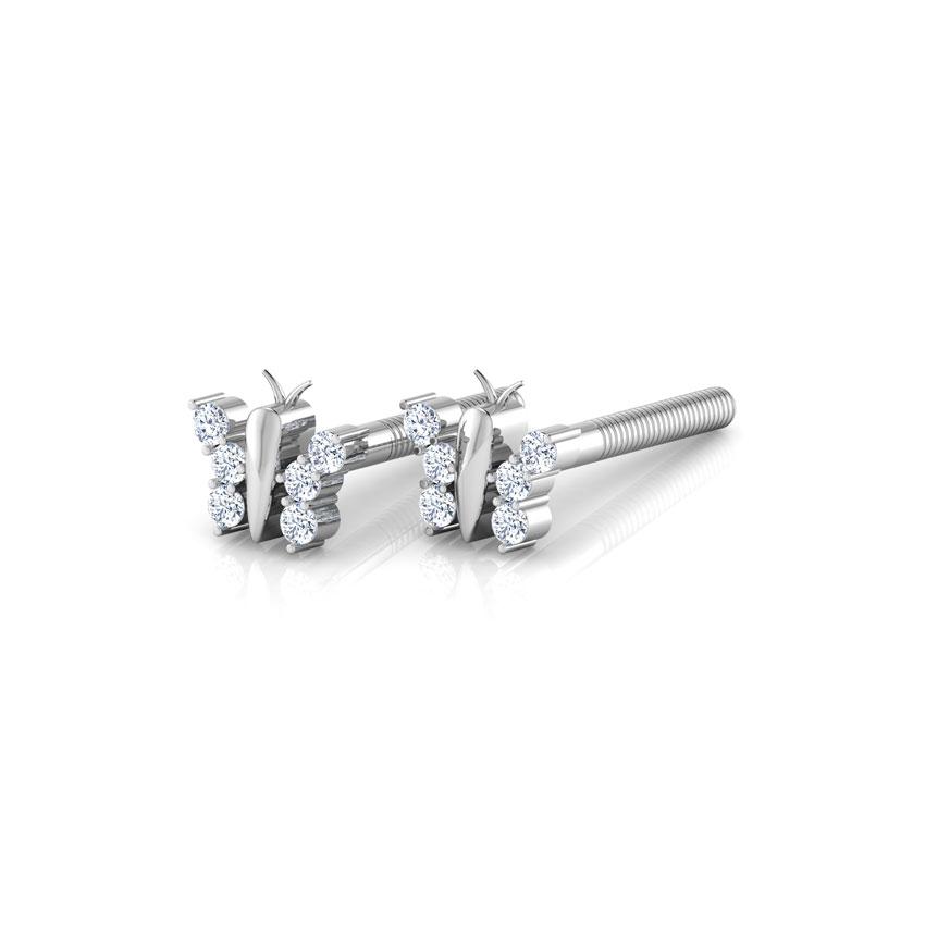 Diamond Earrings 14 Karat White Gold Flutter Sparkle Diamond Stud Earrings