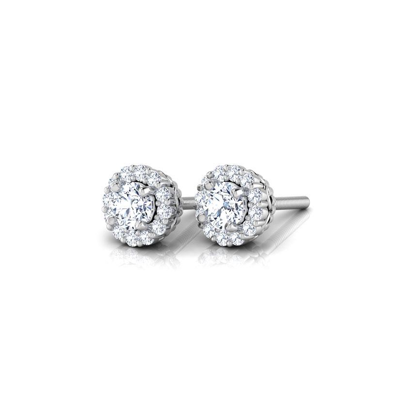 Diamond Earrings 14 Karat White Gold Naksha Halo Diamond Stud Earrings