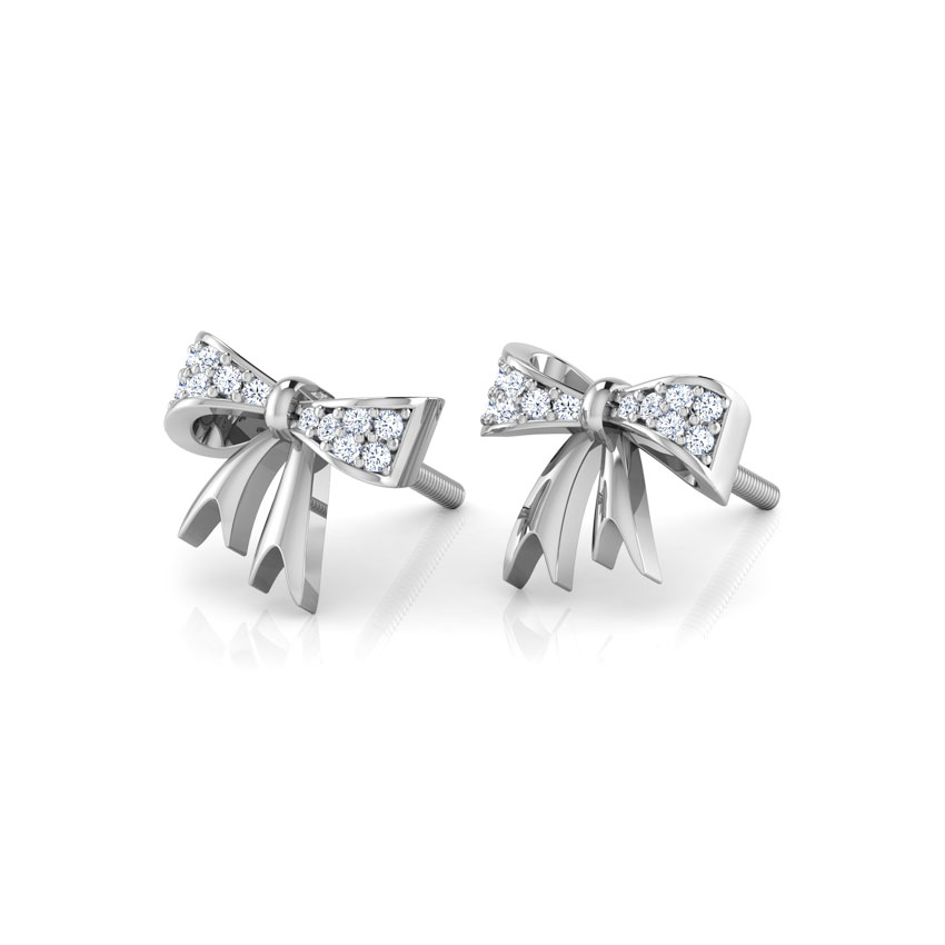Diamond Earrings 18 Karat White Gold Bow Knot Diamond Stud Earrings