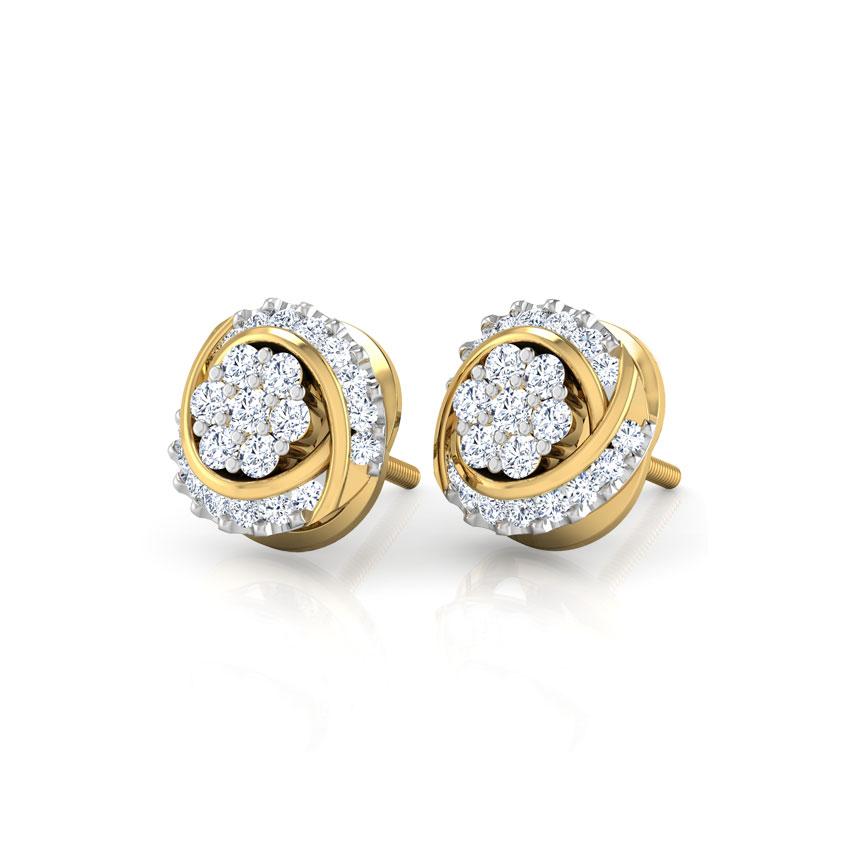 Diamond Earrings 18 Karat Yellow Gold Danza Diamond Stud Earrings