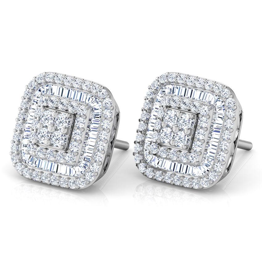Diamond Earrings 14 Karat White Gold Finesse Diamond Stud Earrings