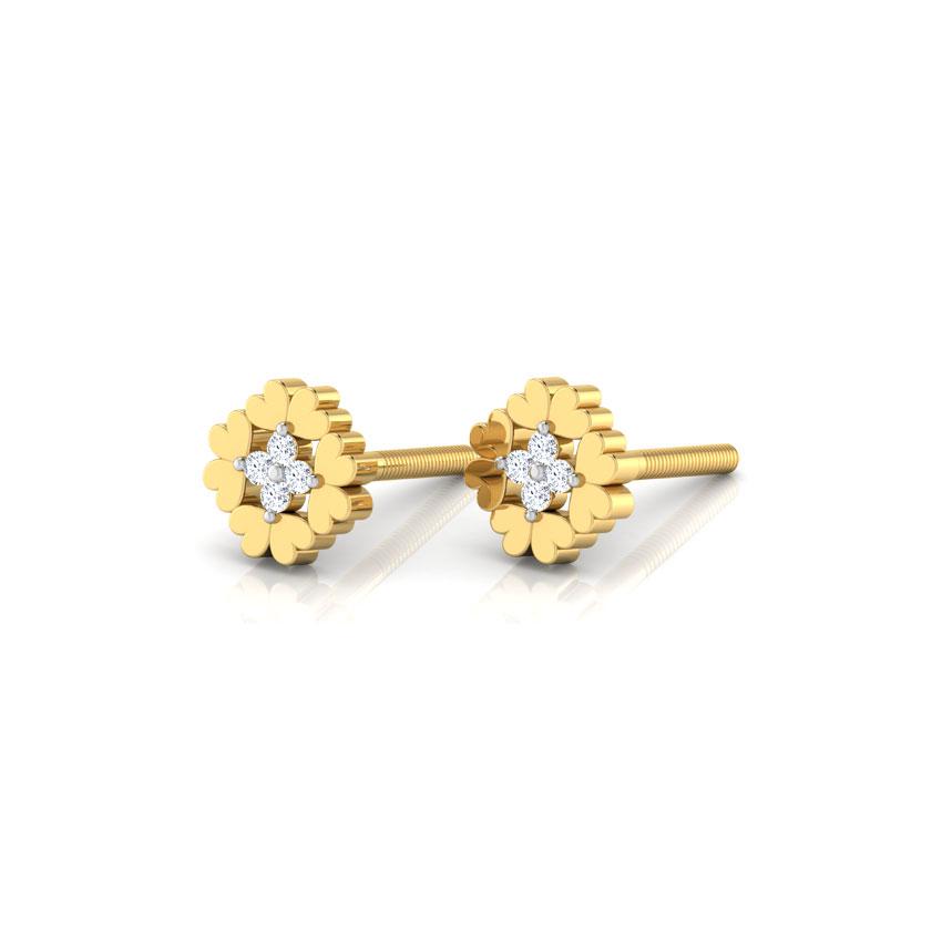 Diamond Earrings 18 Karat Yellow Gold Chelsea Diamond Stud Earrings