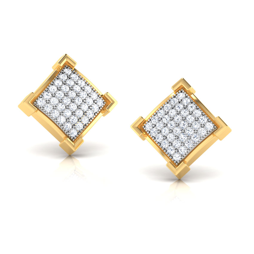 Sparkling Square Stud Earrings