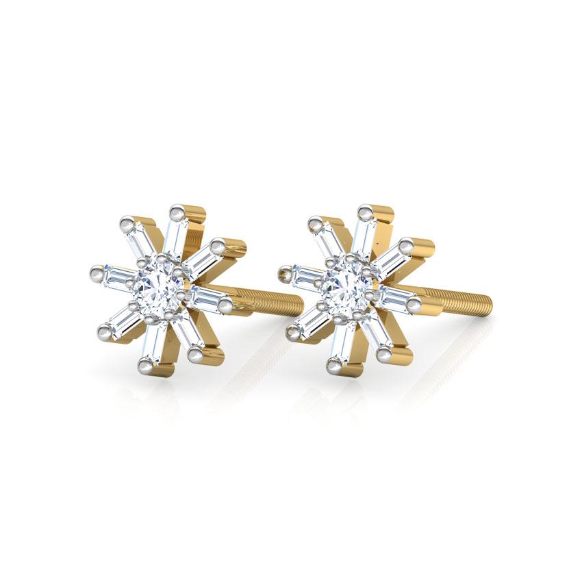 Diamond Earrings 14 Karat Yellow Gold Sparkle Diamond Stud Earrings