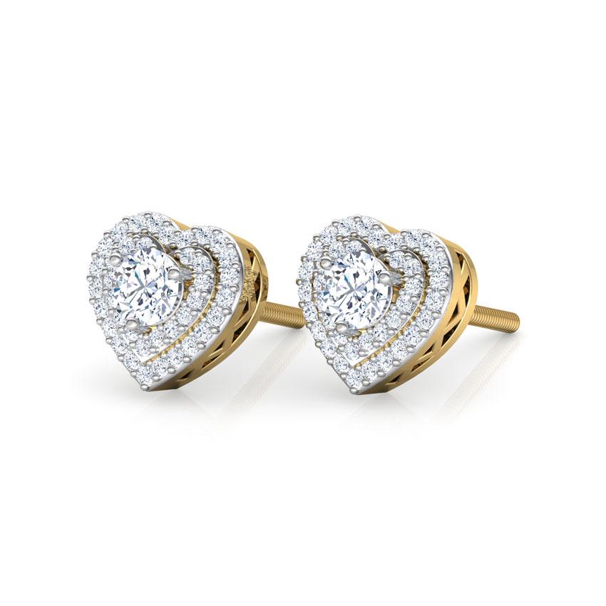 Diamond Earrings 18 Karat Yellow Gold Lover's Diamond Stud Earrings
