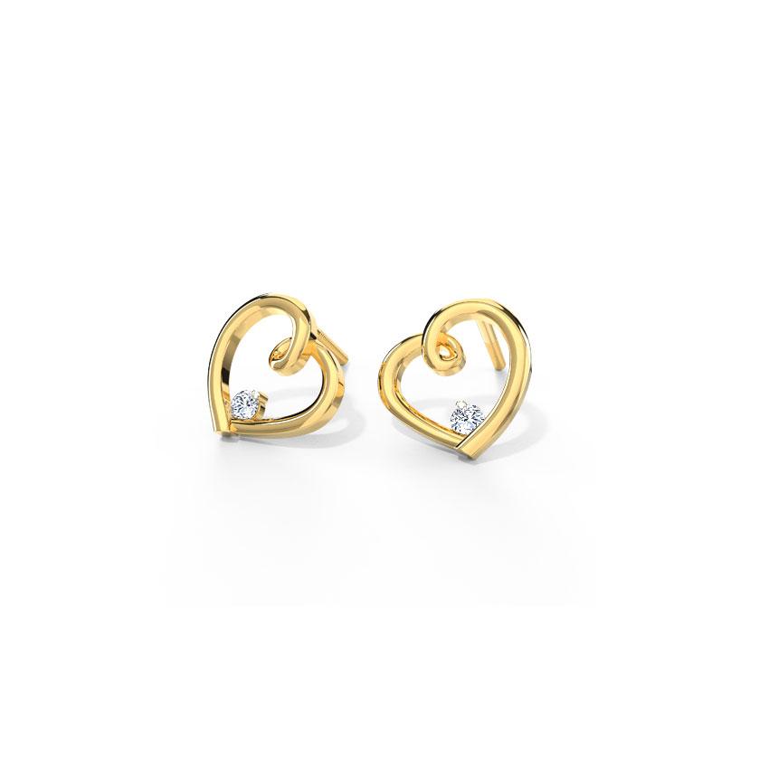 Diamond Earrings 18 Karat Yellow Gold Julinka Heart Diamond Stud Earrings