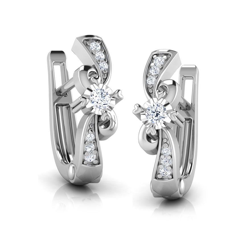 Diamond Earrings 18 Karat White Gold Twisty Curl Diamond Hoop Earrings