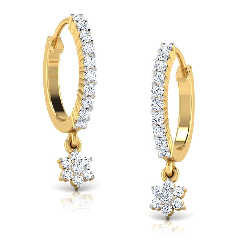 Diamond Earrings 18 Karat Yellow Gold Fern Diamond Hoop Earrings