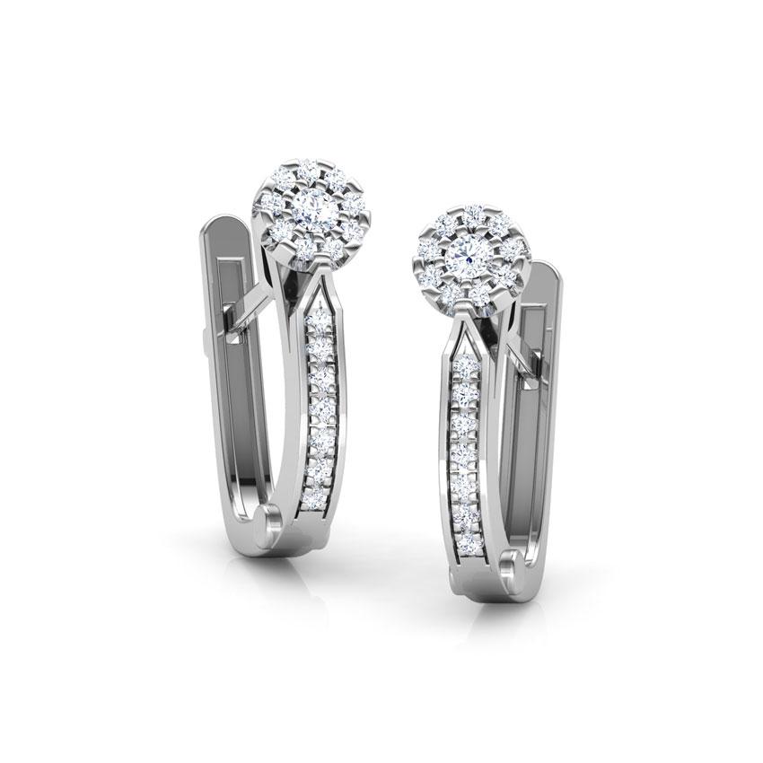 Diamond Earrings 18 Karat White Gold Linear Diamond Hoop Earrings