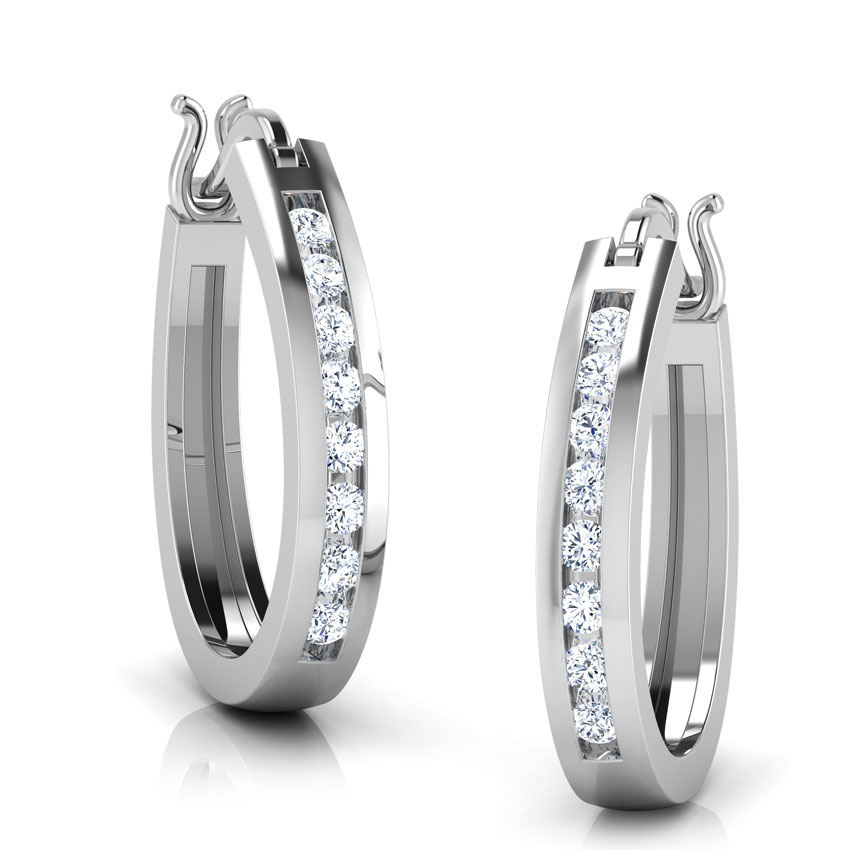 Diamond Earrings 18 Karat White Gold Wendy Diamond Hoop Earrings