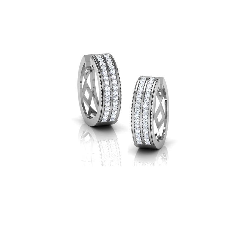 Diamond Earrings 18 Karat White Gold Britt Diamond Hoop Earrings