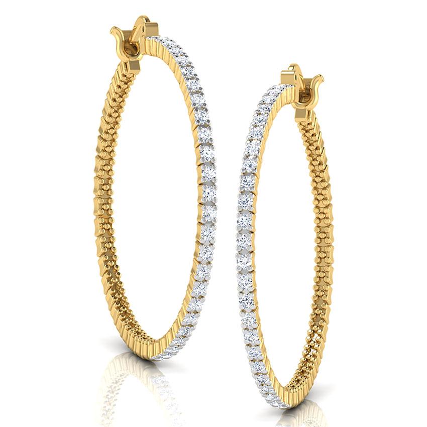 Diamond Earrings 18 Karat Yellow Gold Thyra Diamond Hoop Earrings