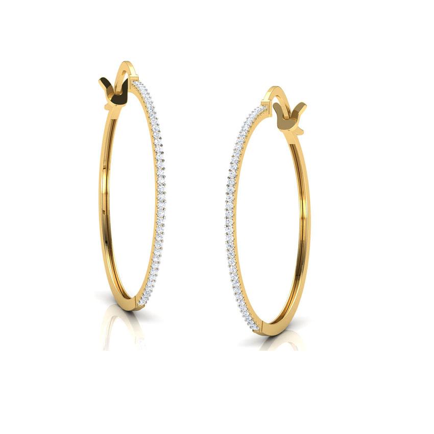 Diamond Earrings 18 Karat Yellow Gold Kristine Diamond Hoop Earrings