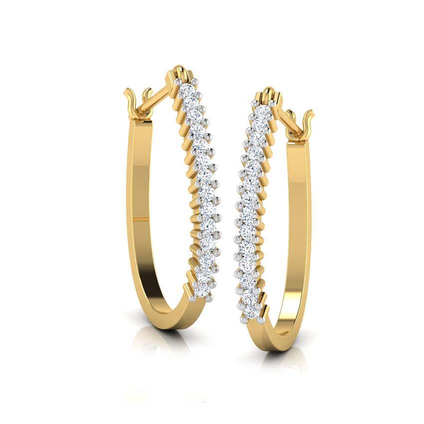 Diamond Earrings 14 Karat Yellow Gold Colure Diamond Hoop Earrings