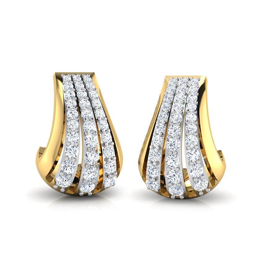 Diamond Earrings 18 Karat Yellow Gold Svelte 'J' Diamond Stud Earrings