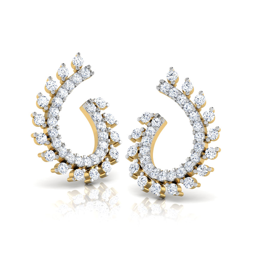 Diamond Earrings 18 Karat Yellow Gold Radiant Diamond Hoop Earrings