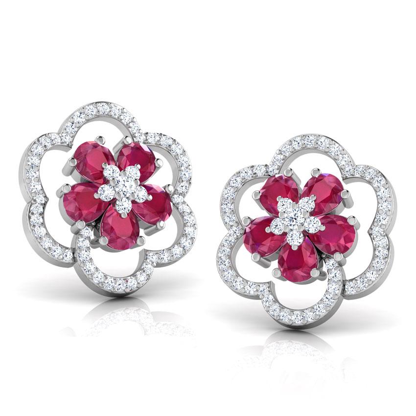 Diamond,Gemstone Earrings 14 Karat White Gold Trio Floral Gemstone Stud Earrings