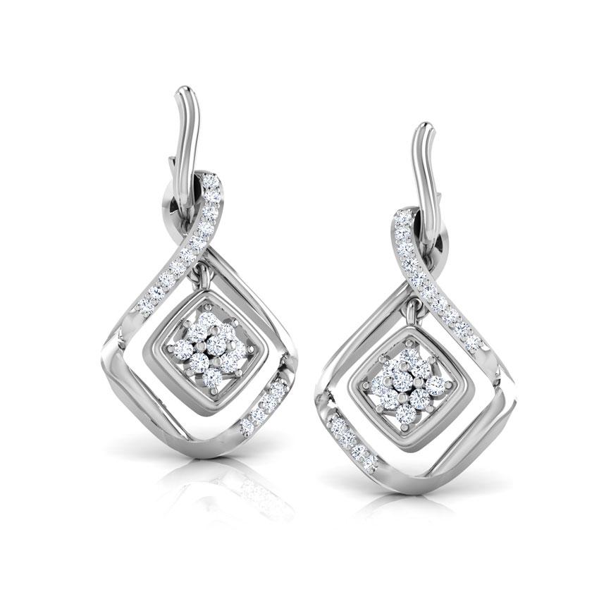 Diamond Earrings 18 Karat White Gold Concentric Square Diamond Drop Earrings