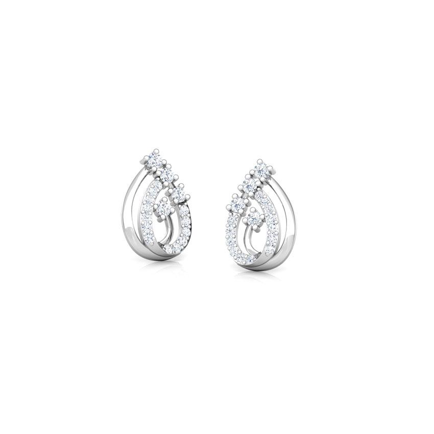 Diamond Earrings 14 Karat White Gold Trio Sparkle Diamond Stud Earrings