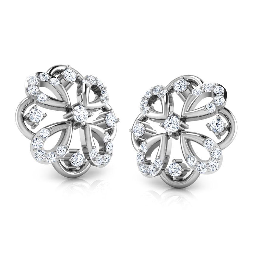 Diamond Earrings 14 Karat White Gold Rangoli Diamond Stud Earrings