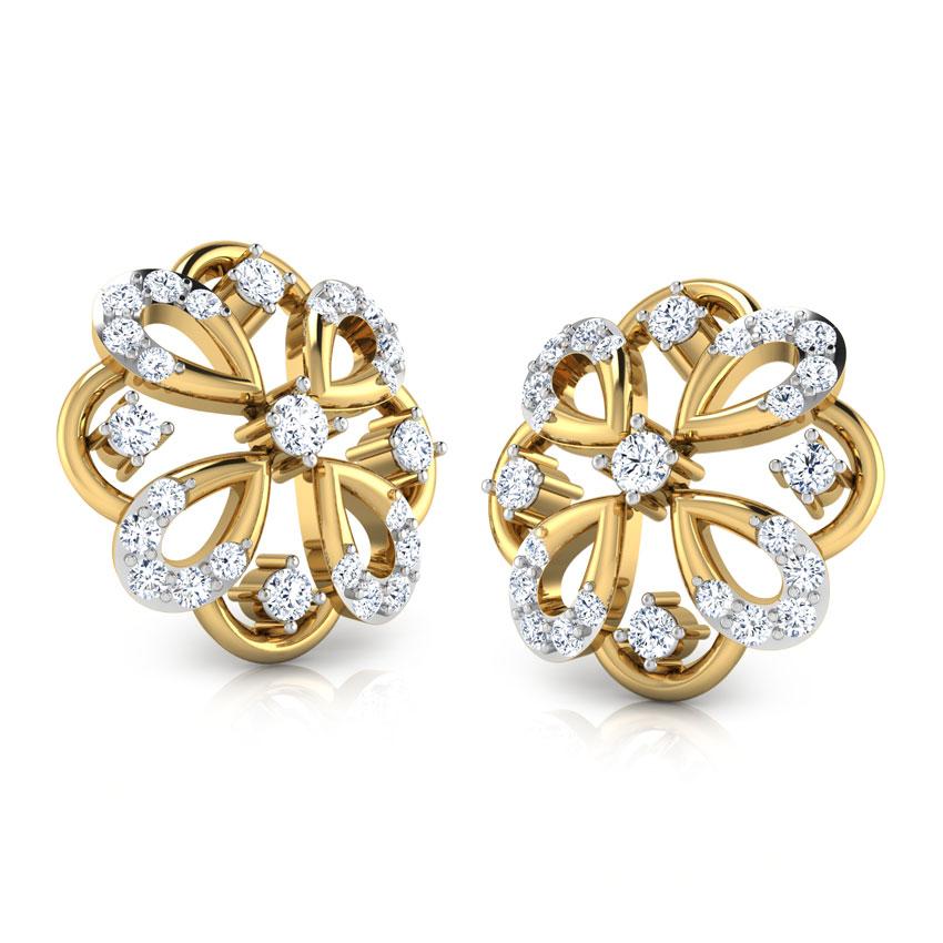Diamond Earrings 18 Karat Yellow Gold Rangoli Diamond Stud Earrings