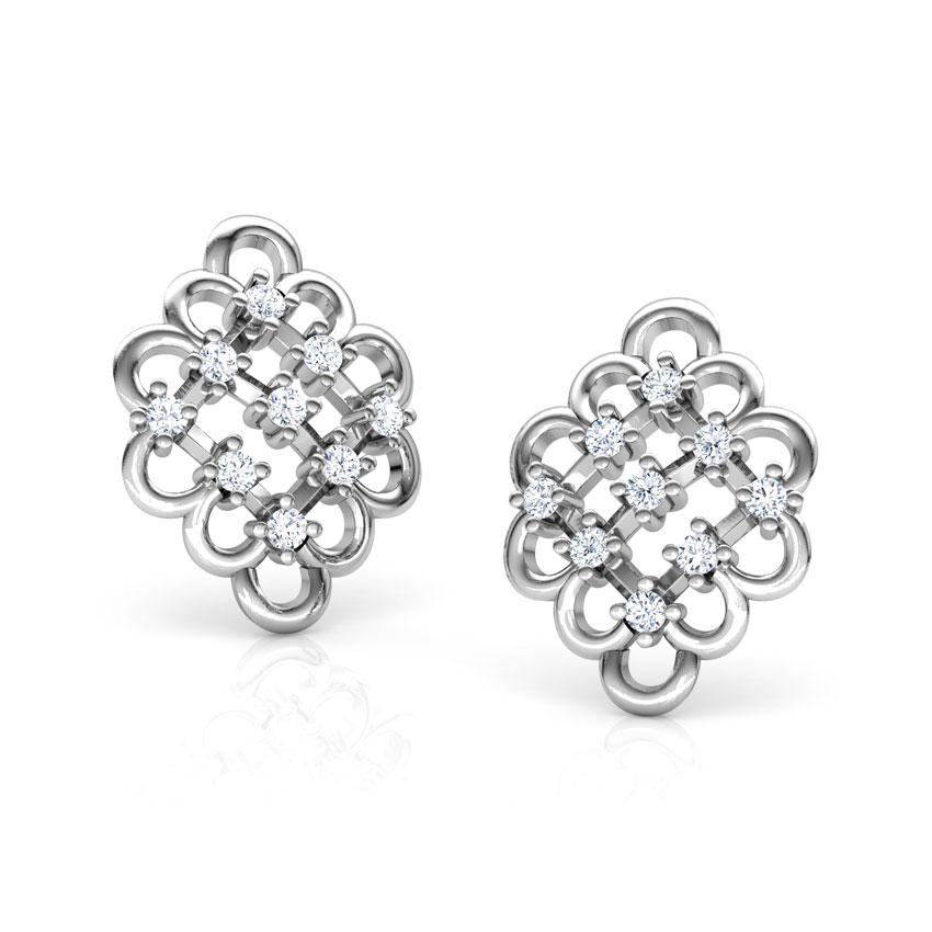 Diamond Earrings 14 Karat White Gold Sparkle Lattice Diamond Stud Earrings