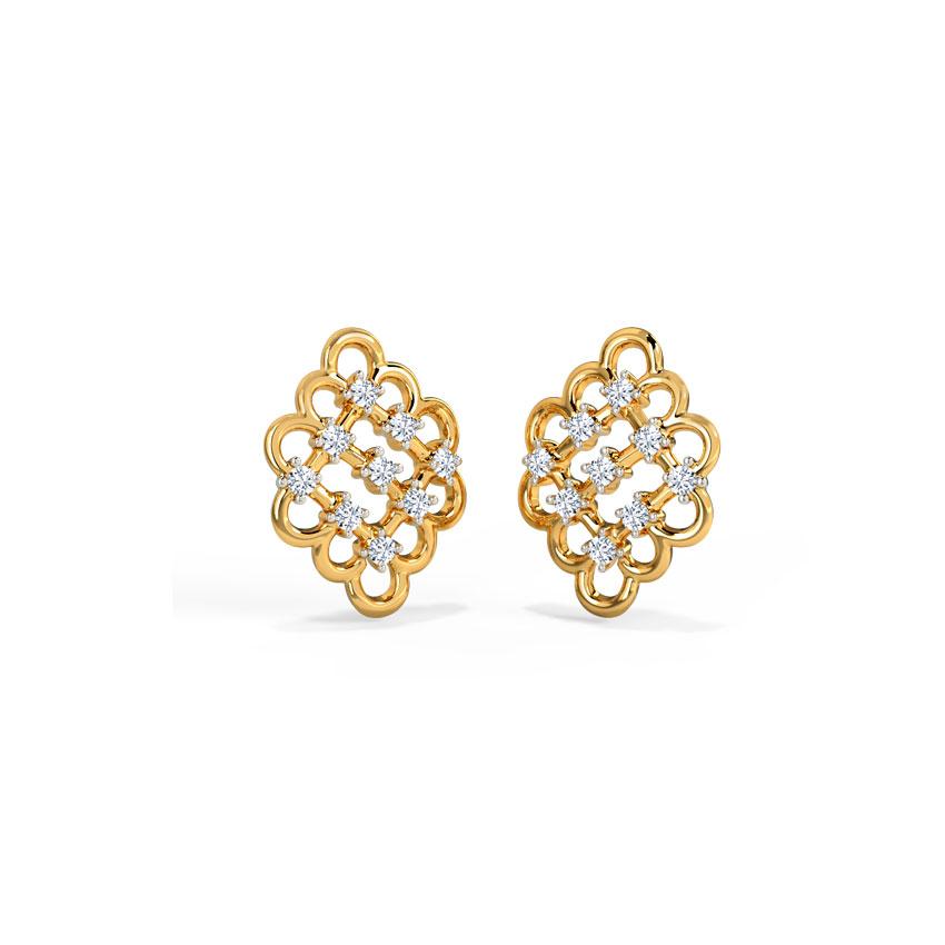Platinum,Diamond Earrings Platinum 950 Platinum Sparkle Lattice Diamond Stud Earrings
