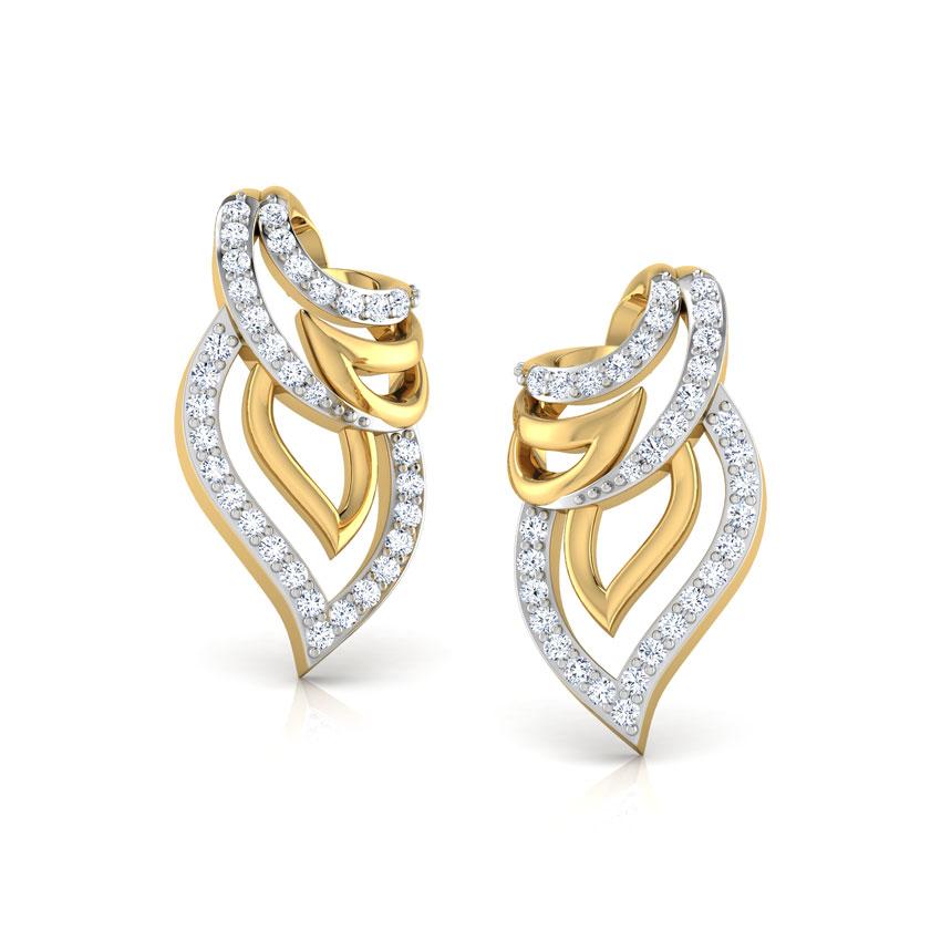 Diamond Earrings 18 Karat Yellow Gold Sparkle Bloom Stud Earrings