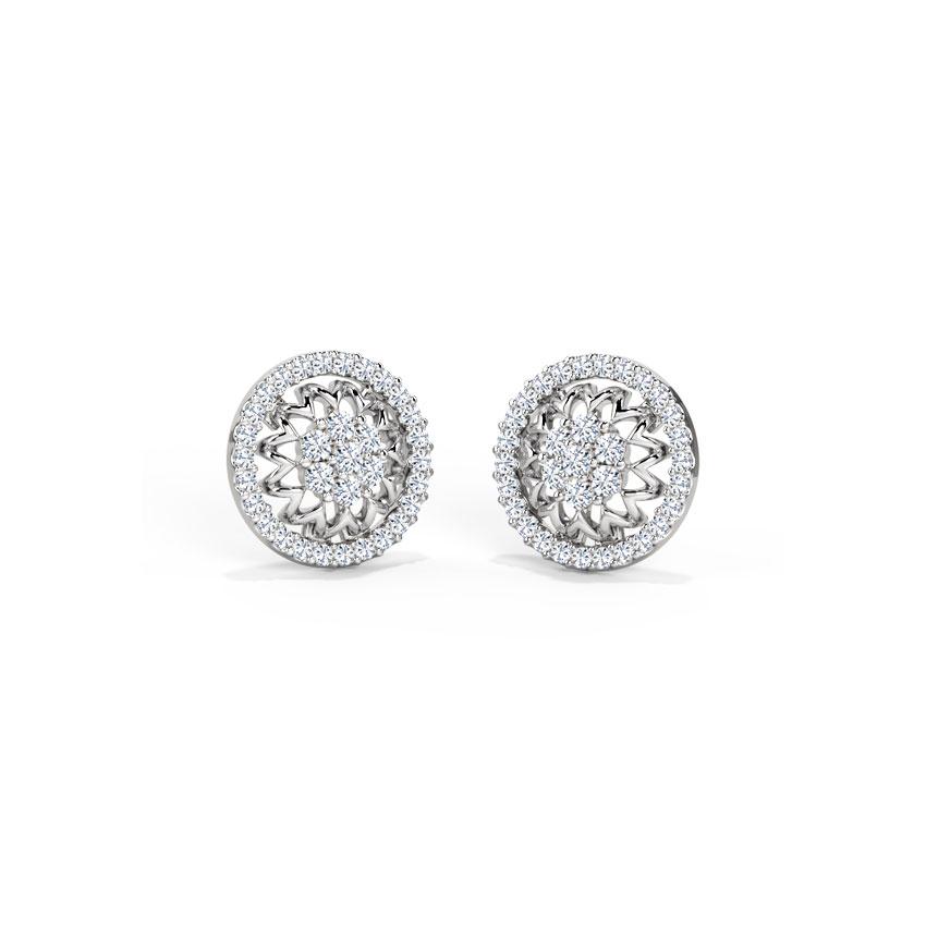 Diamond Earrings 14 Karat White Gold Framed Lotus Diamond Stud Earrings