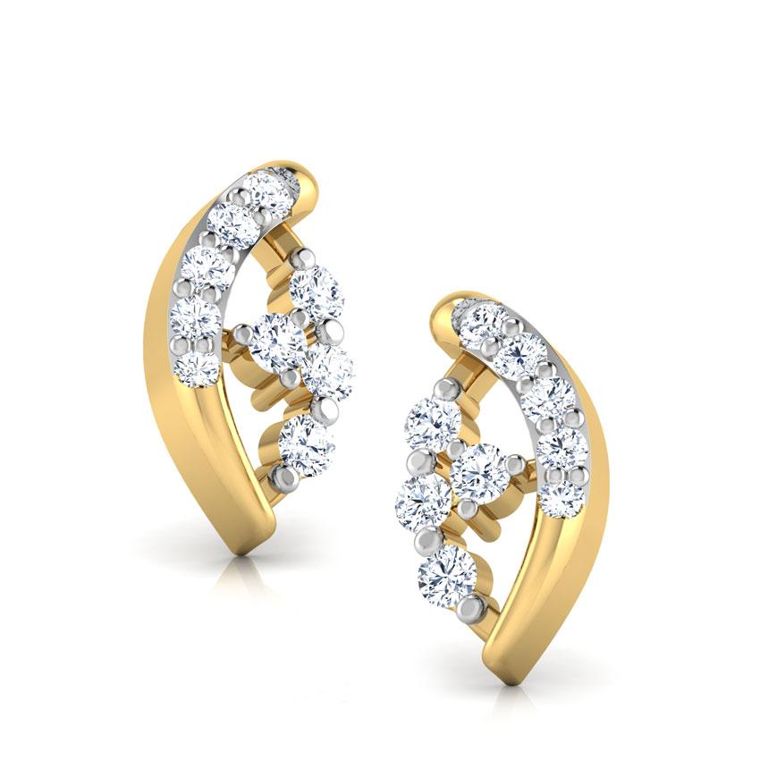 Diamond Earrings 14 Karat Yellow Gold Dazzling Pie Diamond Stud Earrings