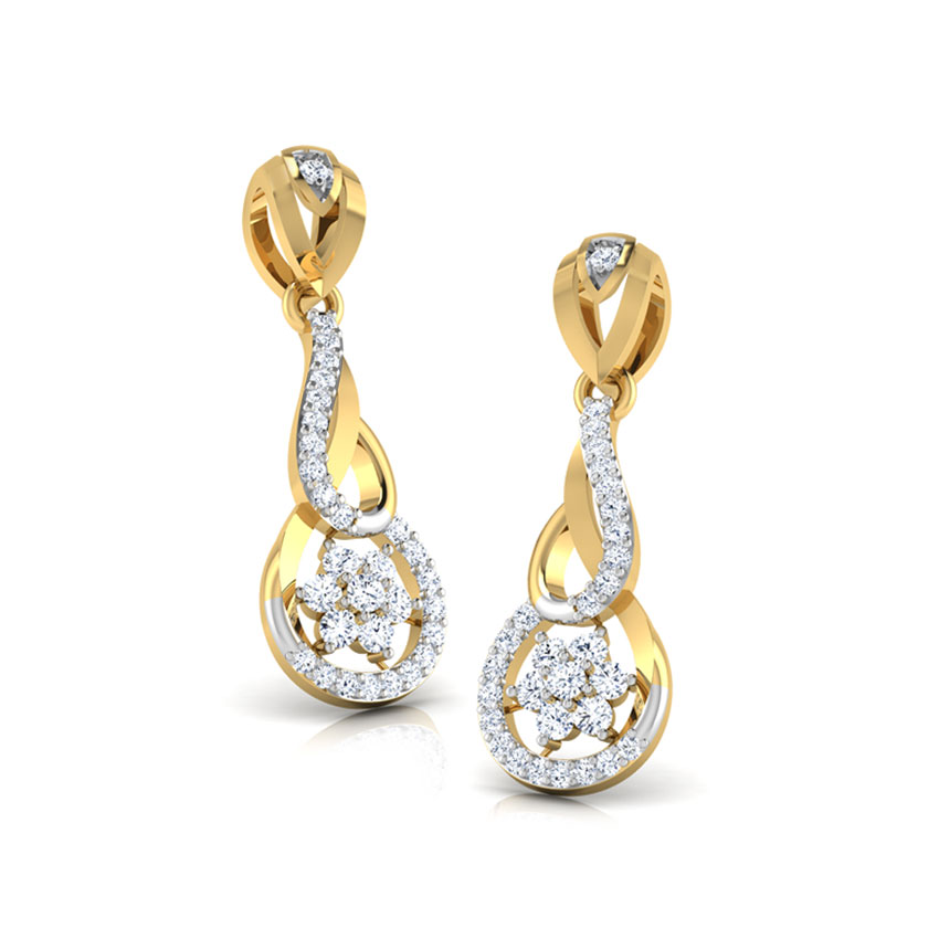 Diamond Earrings 14 Karat Yellow Gold Interlooped Floral Diamond Stud Earrings