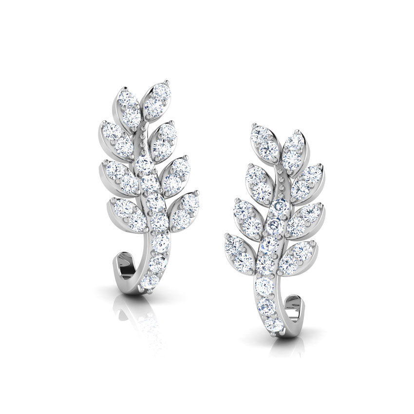 Diamond Earrings 18 Karat White Gold Leafy Creeper Diamond Hoop Earrings