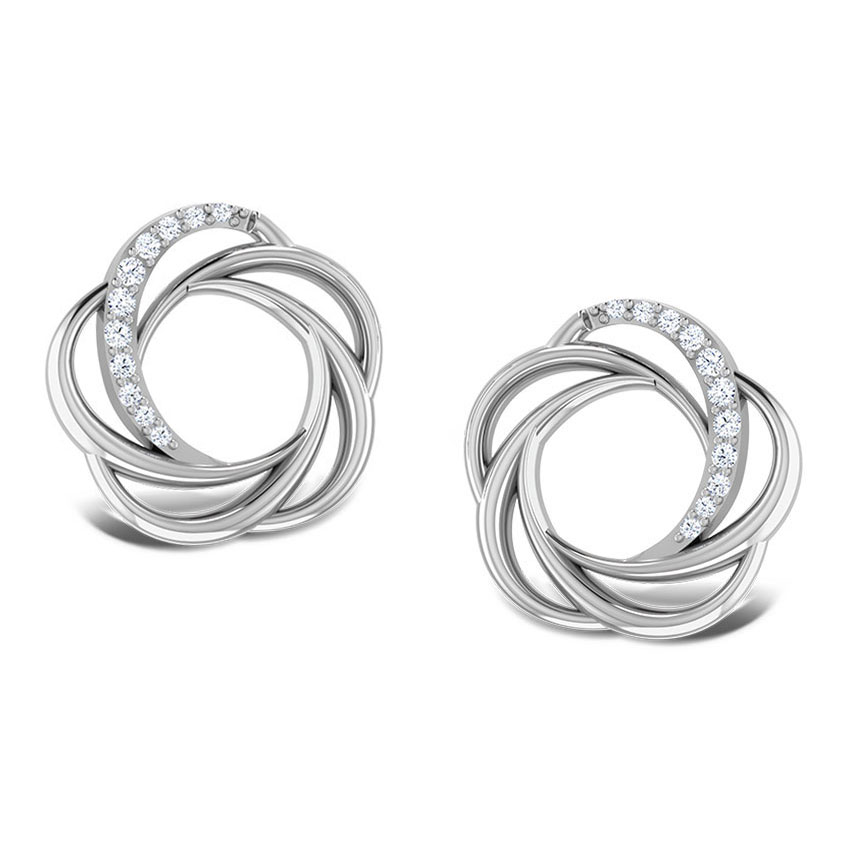 Sparkling Whorl Platinum Earrings