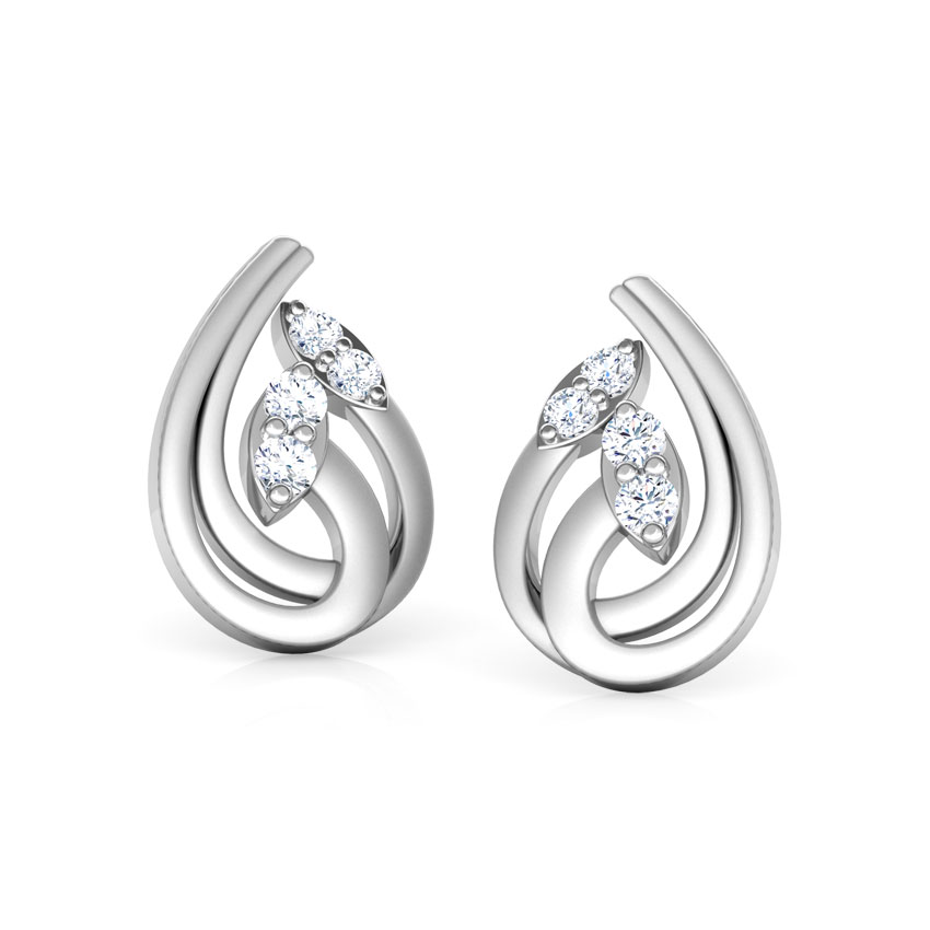 platinum earrings plated sterling product silver ribbon diamond synthetic jewellery with