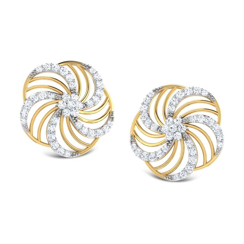 Floral Wave Stud Earrings
