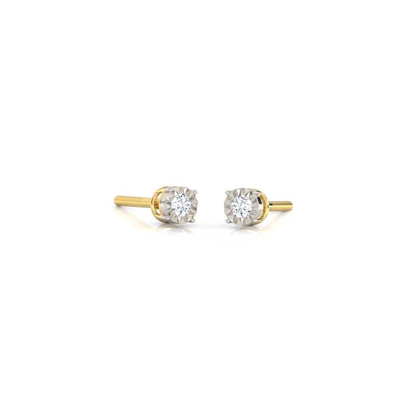 Diamond Earrings 14 Karat Yellow Gold Twinkle Diamond Stud Earrings