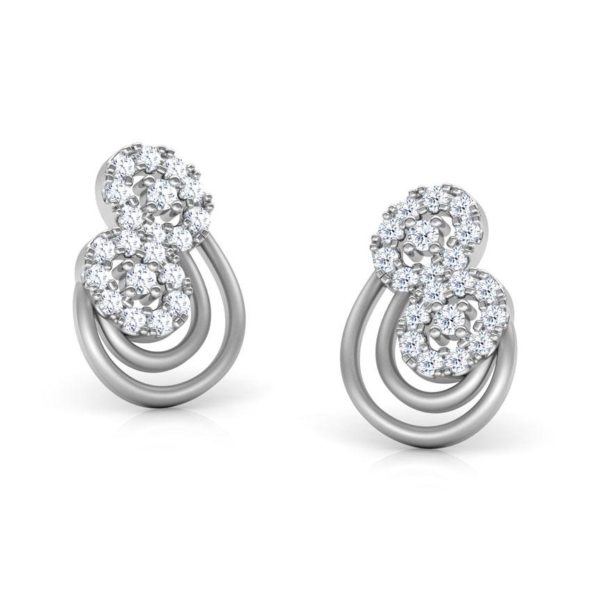 Diamond Earrings 14 Karat White Gold Ivy Diamond Stud Earrings