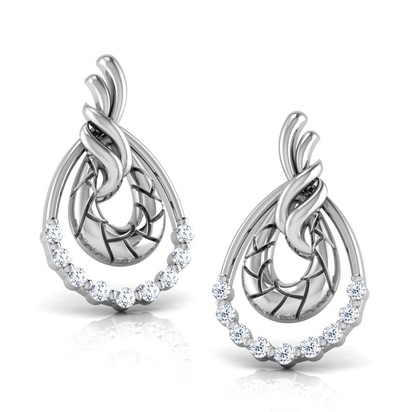 Diamond Earrings 14 Karat White Gold Peony Diamond Stud Earrings