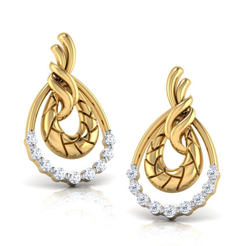 Diamond Earrings 14 Karat Yellow Gold Peony Diamond Stud Earrings