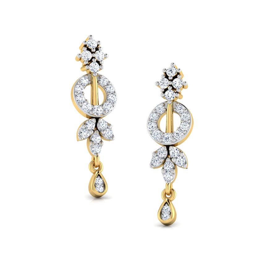 Diamond Earrings 18 Karat Yellow Gold Hazel Diamond Stud Earrings
