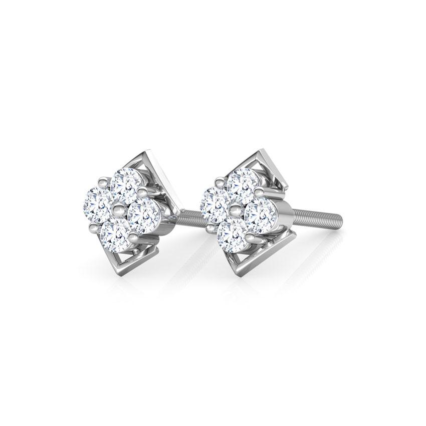 Diamond Earrings 18 Karat White Gold Niche Diamond Stud Earrings