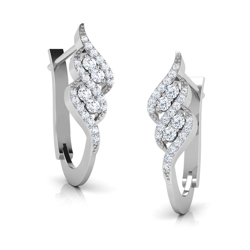 Diamond Earrings 18 Karat White Gold Twisty 8 Diamond Hoop Earrings