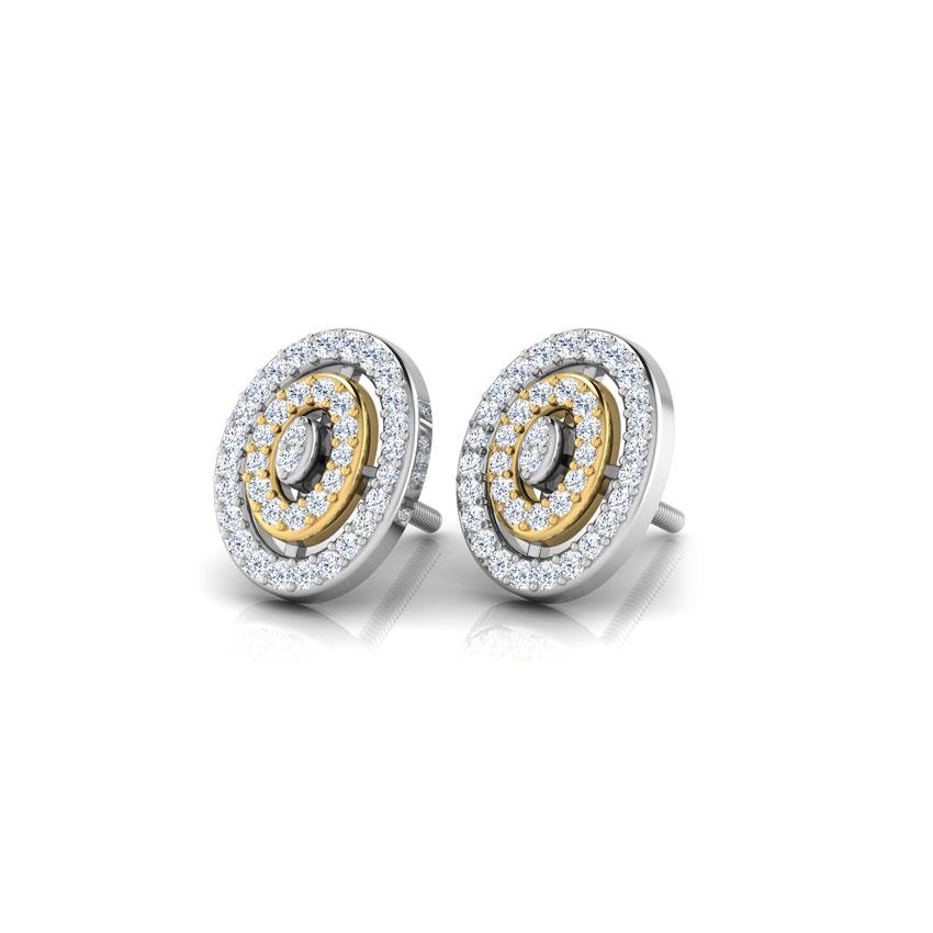 Two Tone Oval Stud Earrings