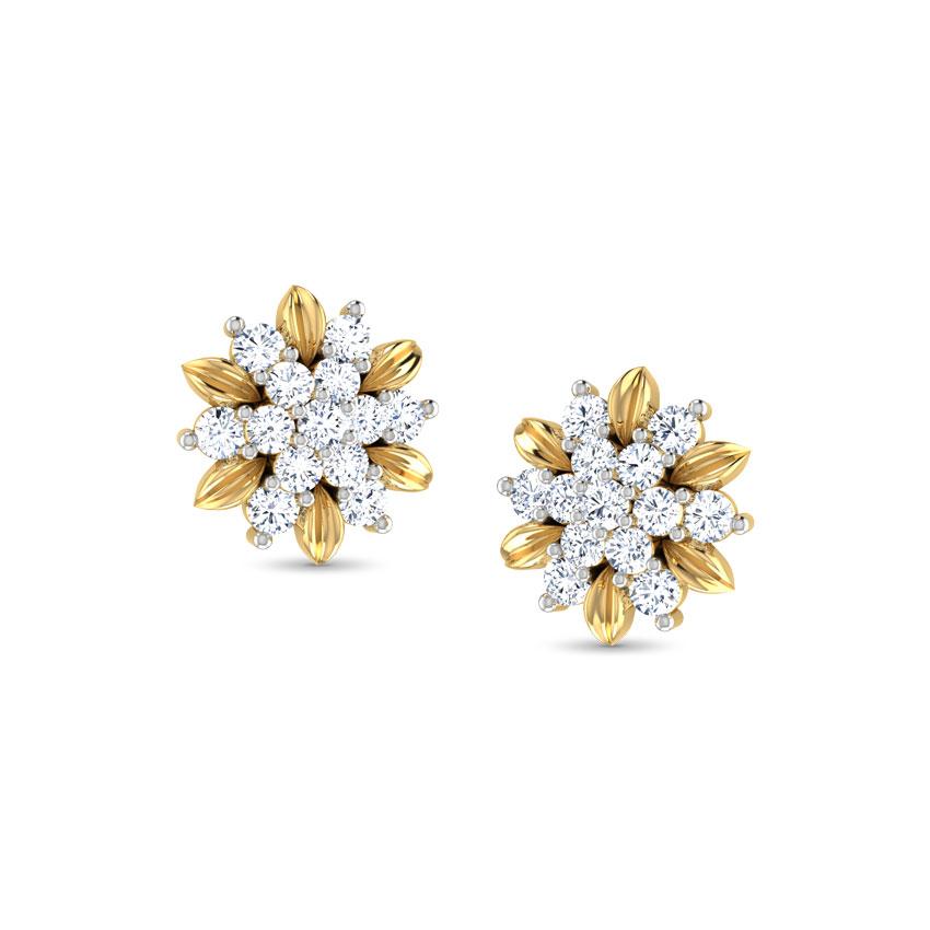 Diamond Earrings 18 Karat White Gold Golden Floret Diamond Stud Earrings