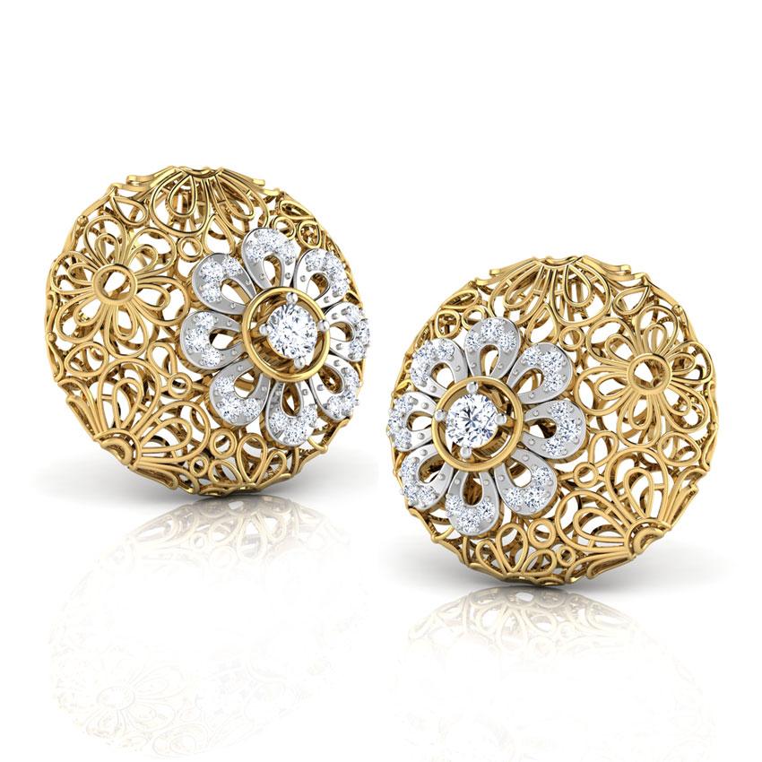 Diamond Earrings 14 Karat Yellow Gold Melantha Trellis Diamond Stud Earrings