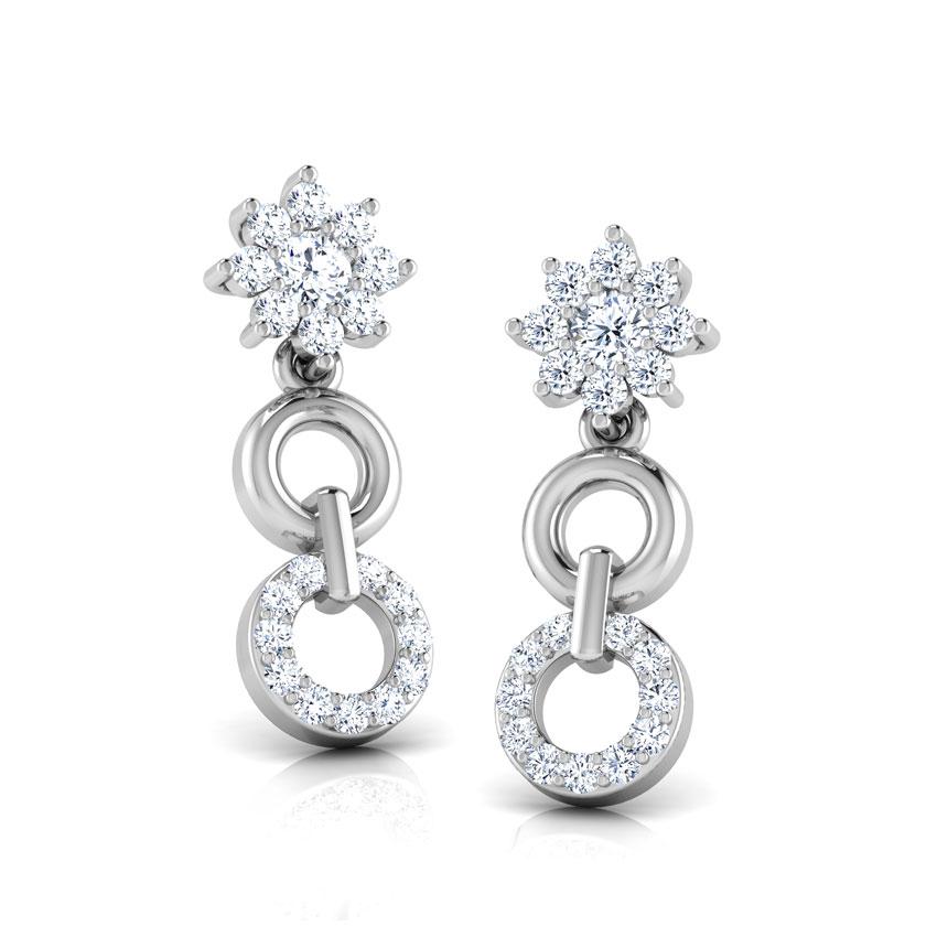 Diamond Earrings 18 Karat White Gold Aura Circle Diamond Drop Earrings