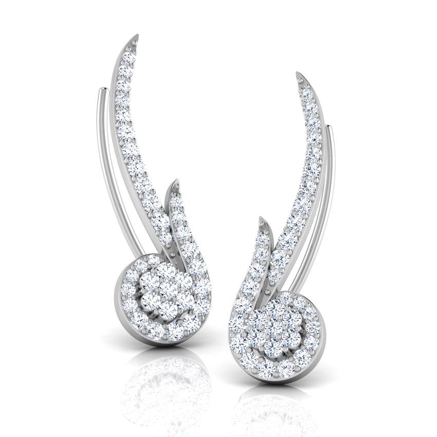 Diamond Earrings 14 Karat White Gold Birdie Diamond Ear Cuffs