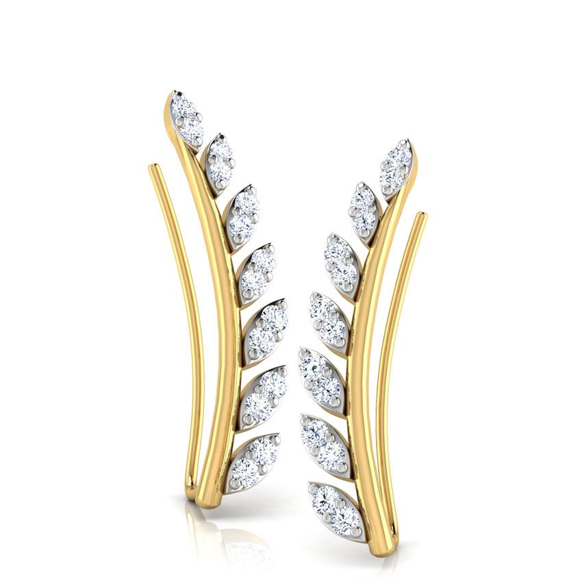 Diamond Earrings 14 Karat Yellow Gold Flora Diamond Ear Cuffs