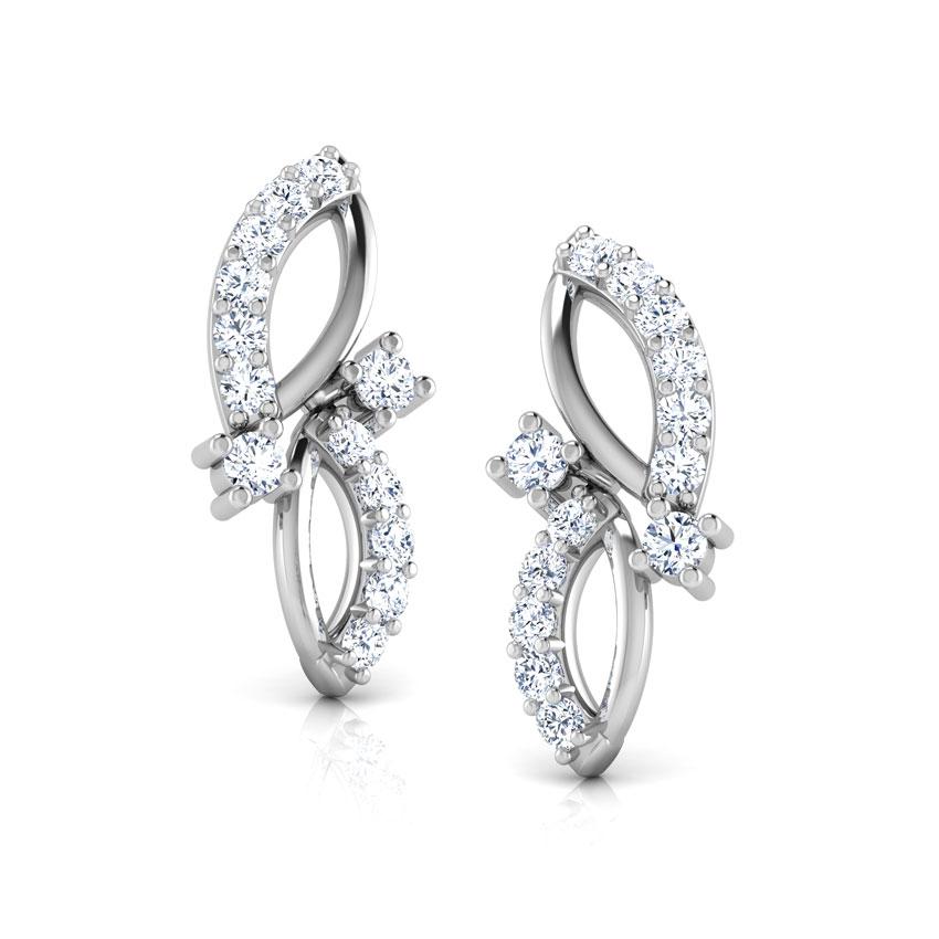 Diamond Earrings 14 Karat White Gold Leaf Drops Diamond Stud Earrings